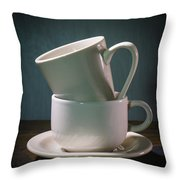 Two Coffee Cups On Saucer Throw Pillow