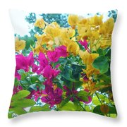 Two Color Flowers Throw Pillow