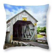 Two Covered Bridges Of St. Martins Throw Pillow