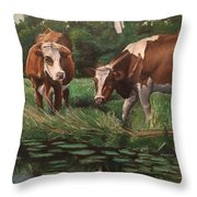 Two Cows By A Pond Throw Pillow