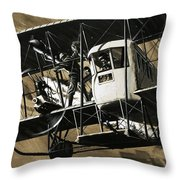 Two Crewmen Amid The Wires And Struts Of An Ilia Mourometz II Bomber Throw Pillow