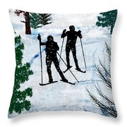 Two Cross Country Skiers In Snow Squall Throw Pillow