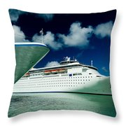 Two Cruise Ships Docked At A Caribbean Throw Pillow