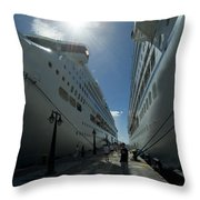 Two Cruise Ships On Either Side Throw Pillow
