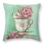Two Cup Rose Painting Throw Pillow