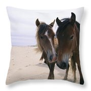 Two Curious Wild Horses On The Beach Throw Pillow