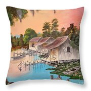Bayou Blue Throw Pillow