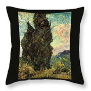 Two Cypresses Throw Pillow