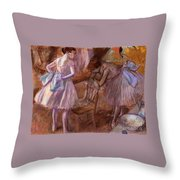 Two Dancers In Their Dressing Room Throw Pillow