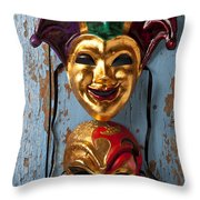 Two Decortive Masks Throw Pillow by Garry Gay