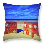 Two Dice On A Beach Throw Pillow