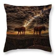 Two Dog Sunset Throw Pillow