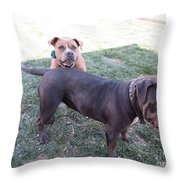 Two Dogs Throw Pillow