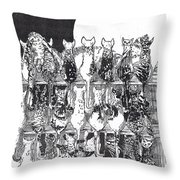 Two Dozen And One Cats Throw Pillow