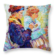 Two Drawing Ladies Throw Pillow