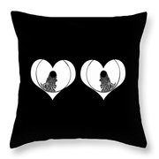 Two Dreamy Eyed Hearts Throw Pillow