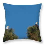 Two Eagles In Two Tree Tops Throw Pillow