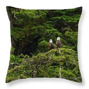 Two Eagles Perched Painterly Throw Pillow