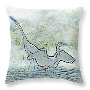 Two Egrets In Water I Glow Brilliant On White II Throw Pillow