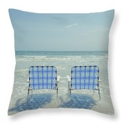 Two Empty Beach Chairs Throw Pillow