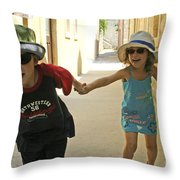 Two Excited Children Throw Pillow
