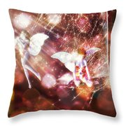 Two Fairies In The Web Throw Pillow