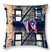 Two Flags In Washington Heights Throw Pillow