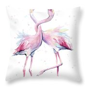 Two Flamingos Watercolor Famingo Love Throw Pillow