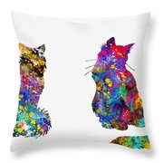 Two Fluffy Cats-colorful Throw Pillow