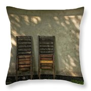 Two Folded Sun Chairs Throw Pillow
