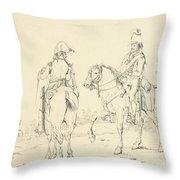 Two French Cavalrymen On Horseback Throw Pillow