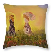 Two Friends Walking In The Field Throw Pillow