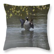 Two Geese On A Pond Throw Pillow