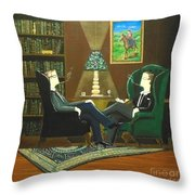 Two Gentlemen Sitting In Wingback Chairs At Private Club Throw Pillow