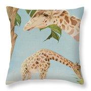 Two Giraffes Throw Pillow