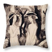 Two Girls Throw Pillow