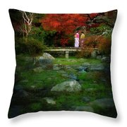 Two Girls In Kimono Standing On A Bridge In Japanese Garden In A Throw Pillow