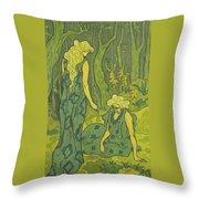 Two Girls Next To The Head Of Orpheus Throw Pillow