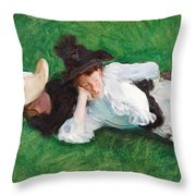 Two Girls On A Lawn Throw Pillow