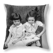 Two Girls Reading A Book, C.1920-30s Throw Pillow