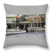 two girls swimming in the Atlantic Ocean Throw Pillow