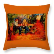 Two Girls With A Byke Throw Pillow