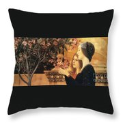 Two Girls With An Oleander Throw Pillow