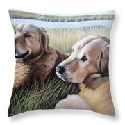 Two Golden Retriever Throw Pillow
