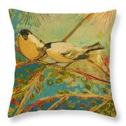Two Goldfinch Found Throw Pillow