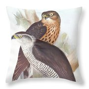 Two Goshawks Throw Pillow