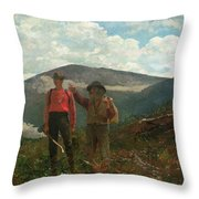 Two Guides Throw Pillow by Winslow Homer