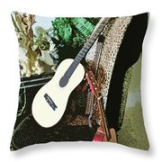 Two Guitars On A Shoe Chair Throw Pillow