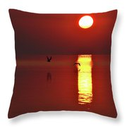 Two Gulls Flying At Sunrise Two  Throw Pillow