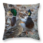 Two Guys And A Gal Throw Pillow